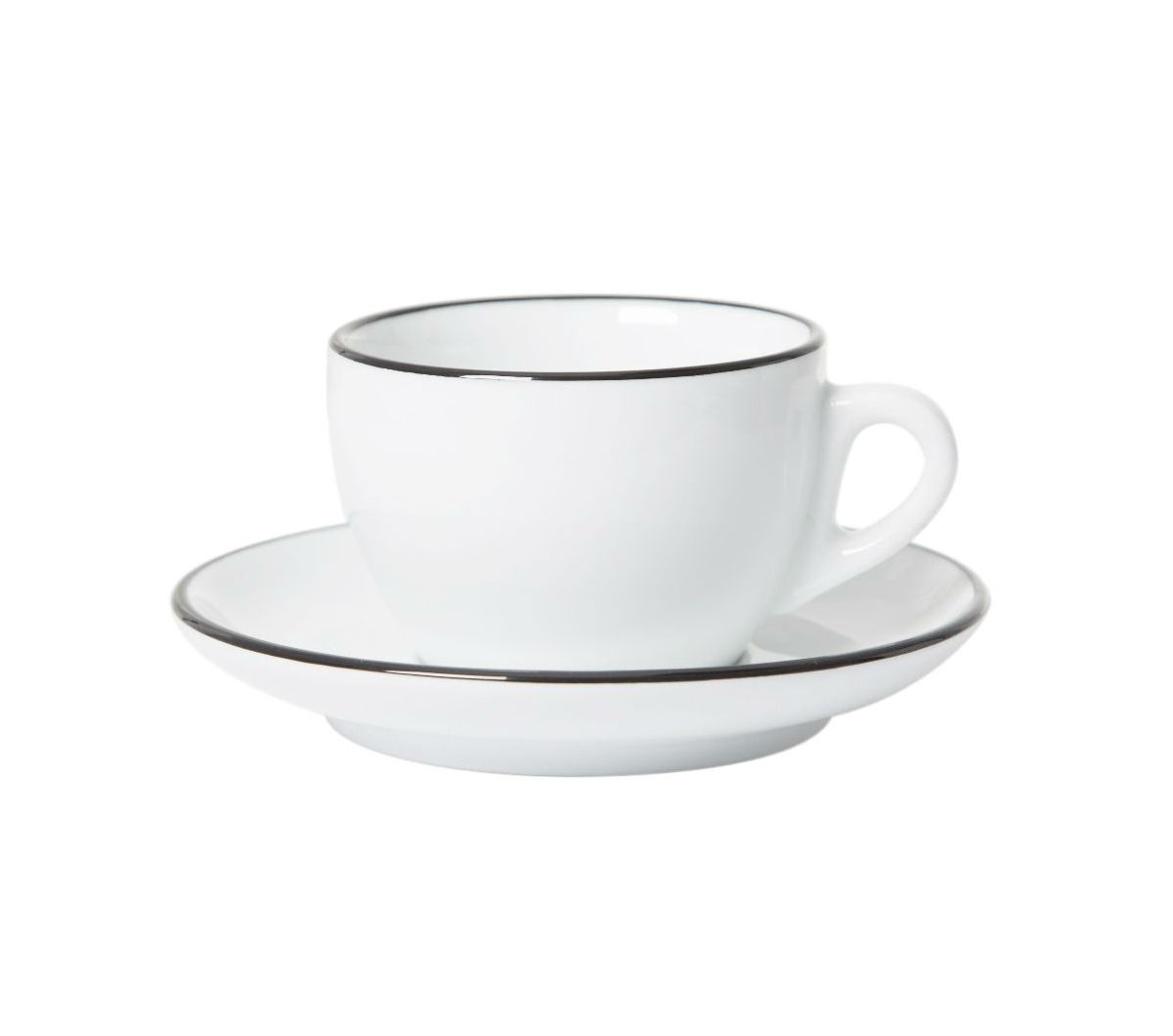 """PALERMO"" BLACK RIM Cappuccino Cups 150ml (Competition)"
