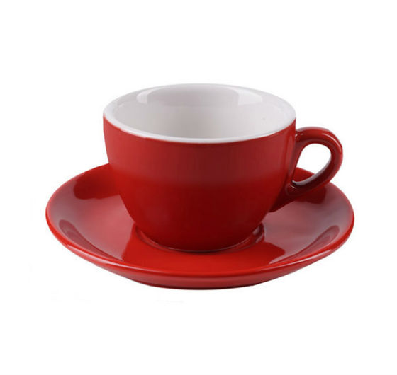 """AOSTA"" Cappuccino Cups 167ml - red"